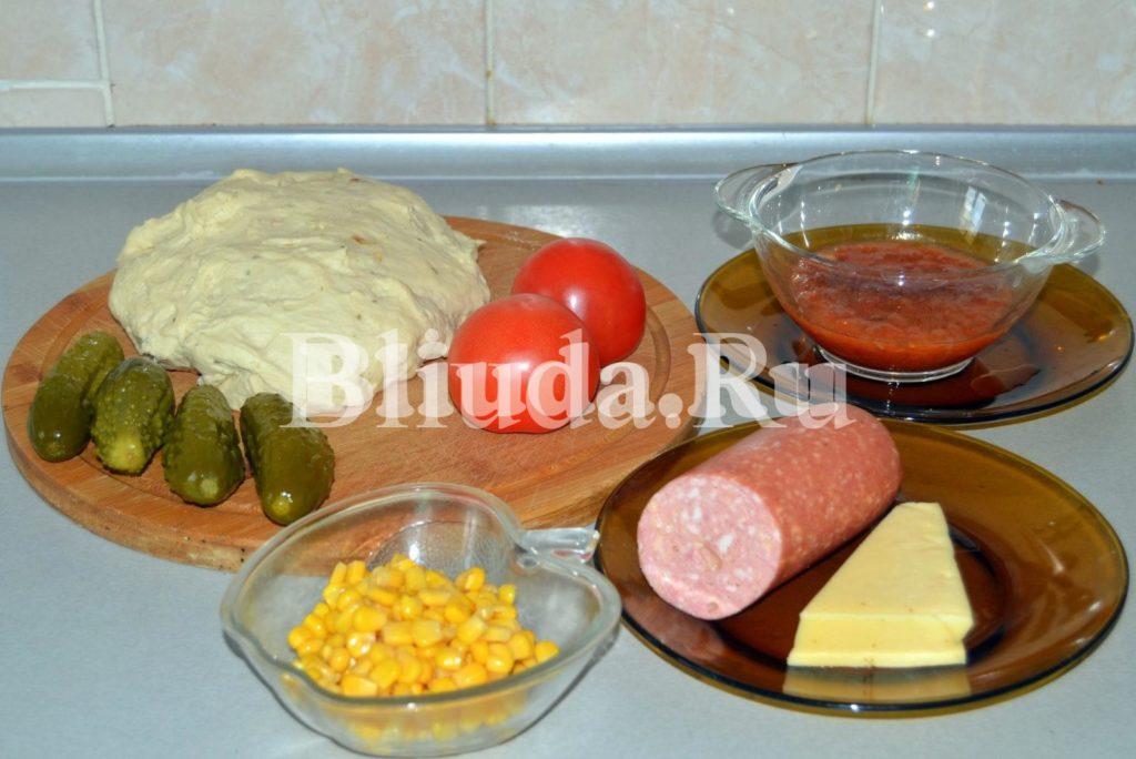 пицца с колбасой и маринованными огурцами ингридиенты