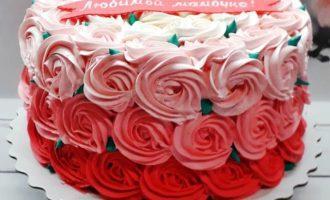 торт с розочками для любимой мамы фото