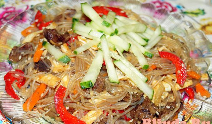 Салат корейский с фунчозой фото