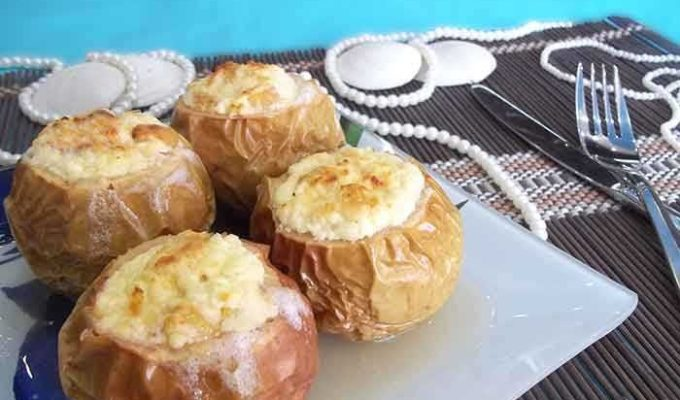 Яблоки запеченные с творогом в духовке рецепт