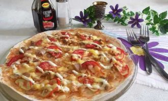 Пицца из лаваша в микроволновке рецепт