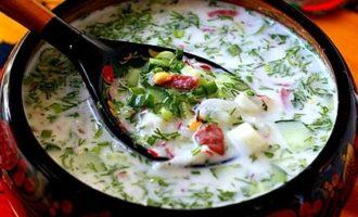 окрошка на кефире рецепт классическая с колбасой