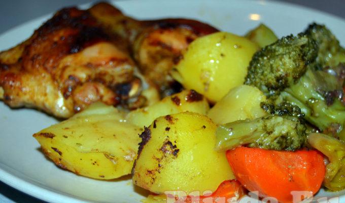 Курица с овощами в рукаве фото
